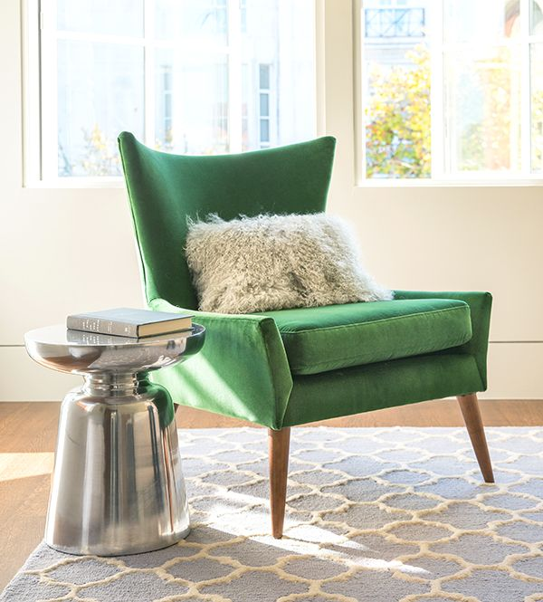 Pin by wang quanquan on 椅子/单人沙发 | Green armchair, Living room