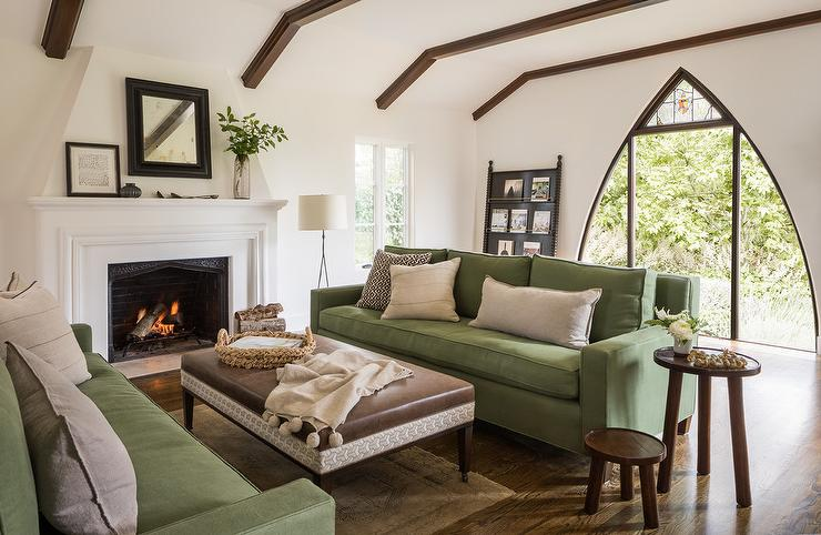 Green Sofas with Brown Leather Ottoman Coffee Table - Mediterranean