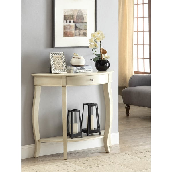 Shop Yvonne Half-Moon Console Table with Drawer in Antique White