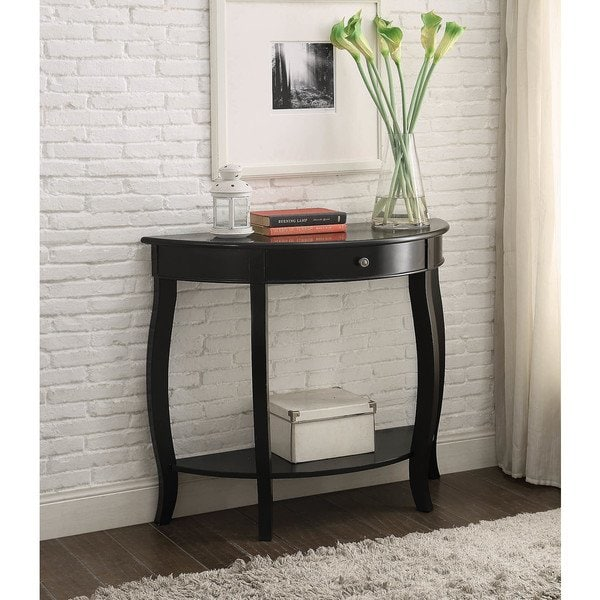 Shop Yvonne Half-Moon Console Table with Drawer in Antique Black