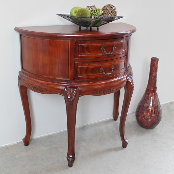 Shop International Caravan Windsor Carved Half-Moon Console Table
