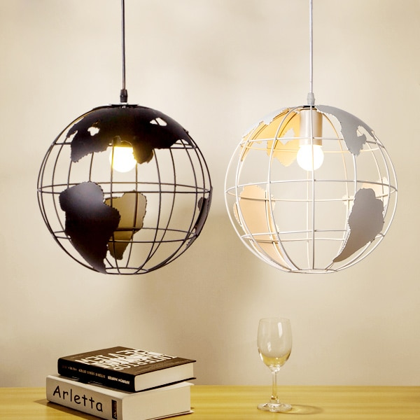 Hanging light fixture Nordic A globe Pendant lampshade Black / White