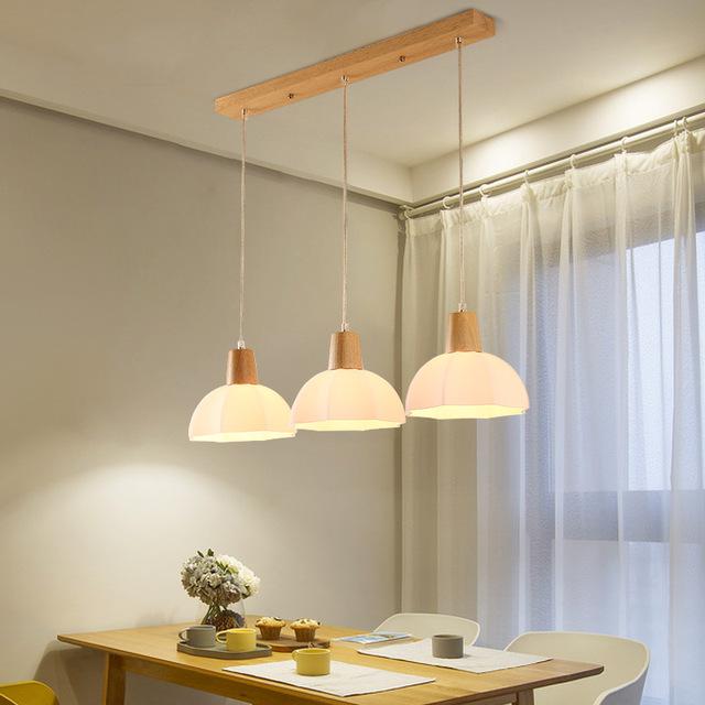 LED suspended lighting wooden chandelier dining room pendant lamps