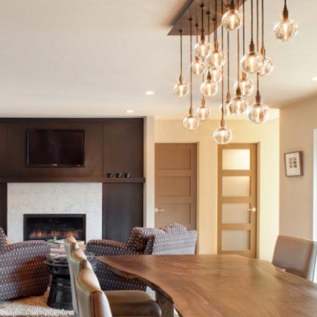 Love the hanging light bulbs // corner above franks chair