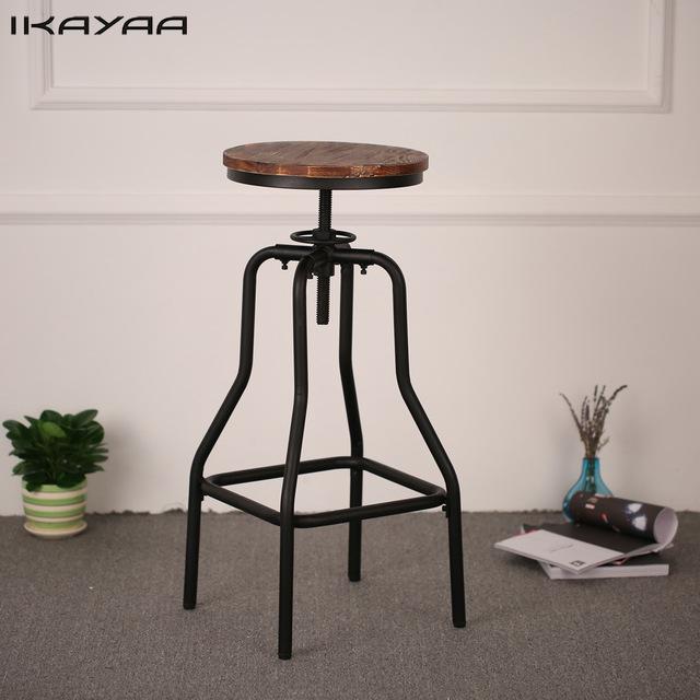 iKayaa Height Adjustable Swivel Bar Stool Natural Pinewood Top
