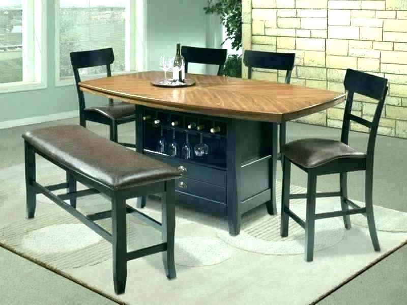 high top dining table with bench dark kitchen design with wire bar