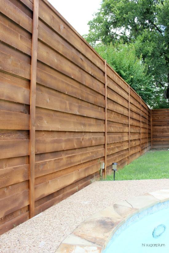The Backyard} A New Horizontal Fence | hi Sugarplum!