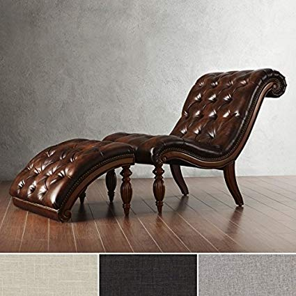 Amazon.com: Brown Leather Chaise Lounge Chair with Ottoman