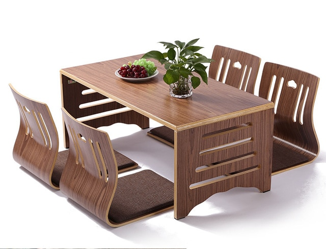 5pcs/set Modern Japanese Style Dining Table and Chair Asian Floor