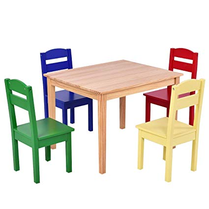 Amazon.com: Costzon Kids Wooden Table and 4 Chairs Set, 5 Pieces Set