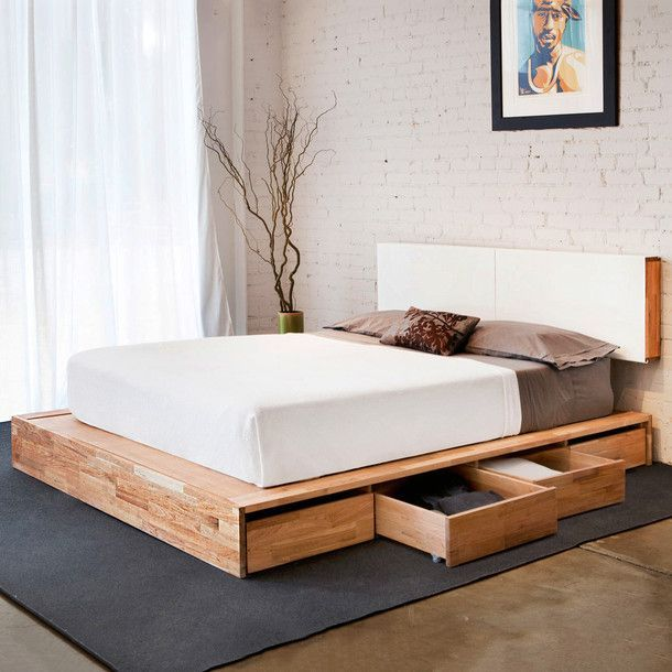 Platform bed with storage underneath. Matching floating headboard