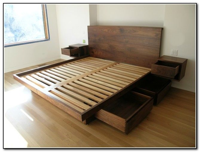 King Size Platform Bed With Drawers Plans | Bedroom in 2019 | Bed