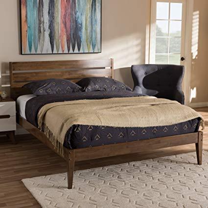 Amazon.com - Baxton Studio Elmdon Mid-Century Modern Solid Walnut