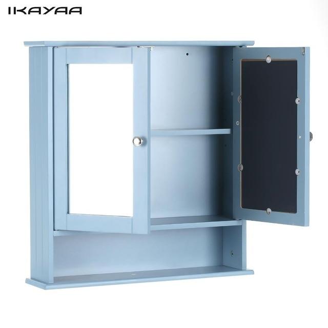 iKayaa Modern 2 Door Wall Cabinet with Glass Doors & Shelves Kitchen