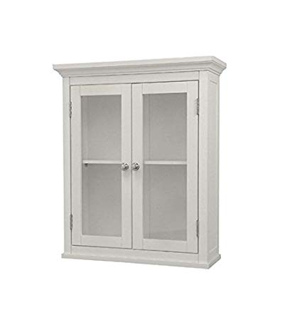 Amazon.com: Classique Elegant Wood Wall Cabinet (White), Two Glass