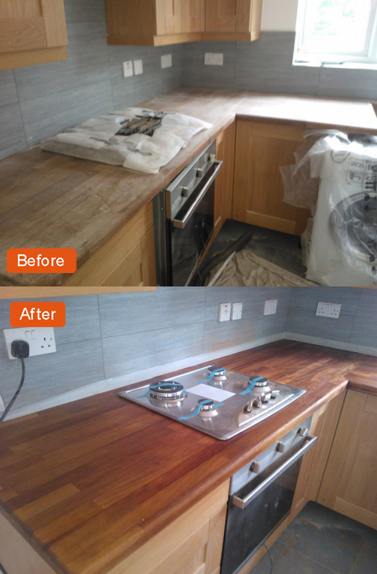 Sanding of wood kitchen worktops and cupboards | The Sanding Company