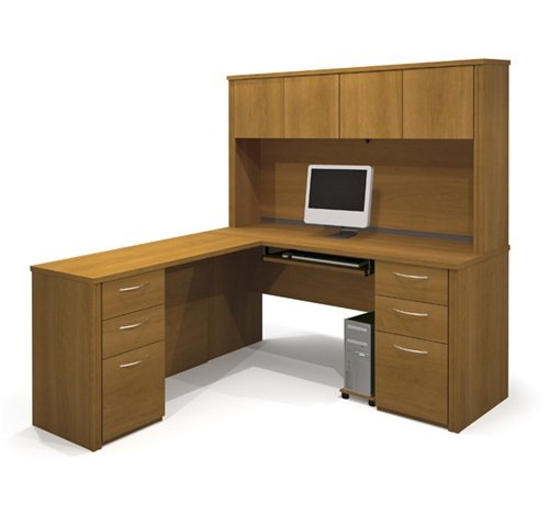 L-shaped Corner Computer Desk with Hutch Included in Cappuccino