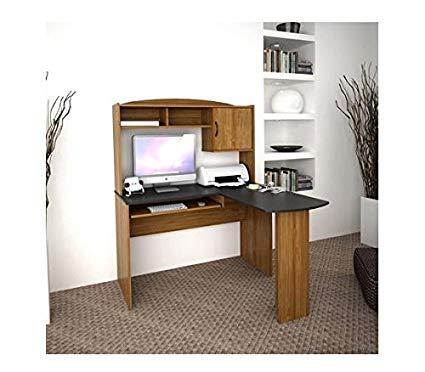 Amazon.com: Corner L Shaped Office Desk with Hutch, Black and Alder