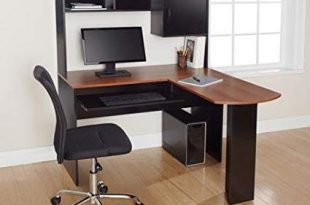 Amazon.com: Corner L Shaped Office Desk with Hutch (Black and Cherry
