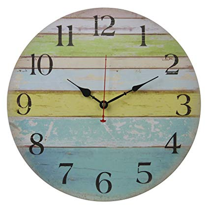Amazon.com: Old Oak 16-Inch Large Beach Wall Clock Decorative Silent