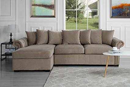 Amazon.com: Modern Large Tufted Velvet Sectional Sofa, Scroll Arm L