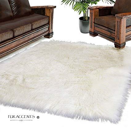 Amazon.com: Fur Accents Large White Shag Area Rug - Sheepskin - 100