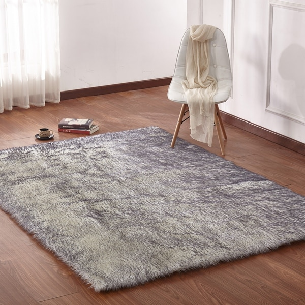 Shop Large Size Faux Shag Area Rug In Off-white/Grey - On Sale