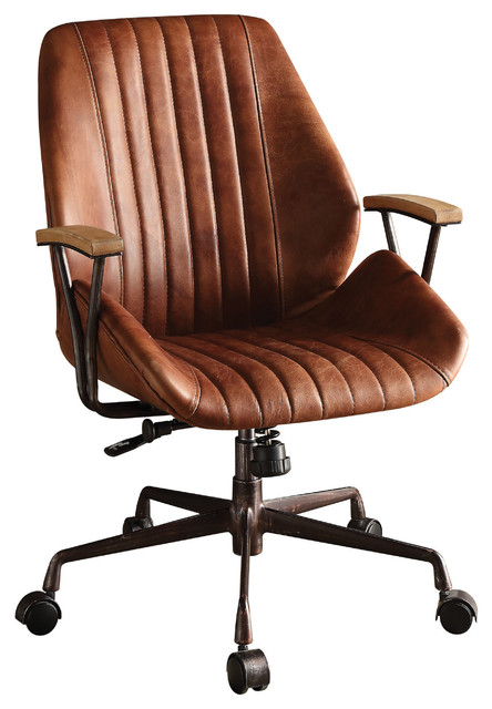 Hamilton Top Grain Leather Office Chair, Coffee - Industrial