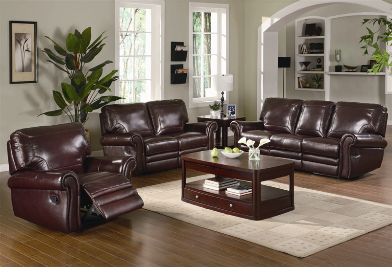 Teagan 2 Piece Reclining Sofa Set in Burgundy Leather Upholstery by