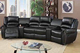 Amazon.com: 5pcs Black Bonded Leather Reclining Sofa Set Home