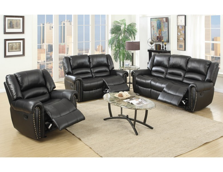 Darco Black Leather Recliner Sofa