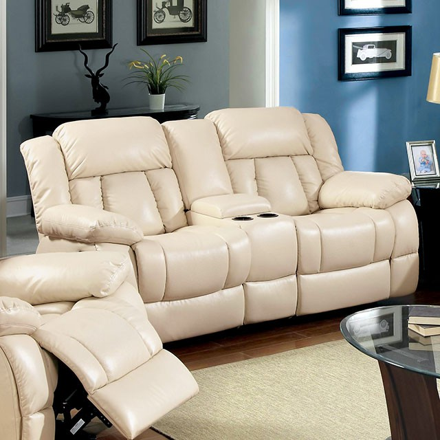Barbado 3 Pieces Ivory Bonded Leather Recliner Sofa Set - Shop for