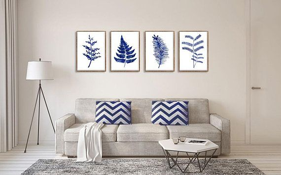 Ferns Print, Floral Decor, Set Of 4 Blue Ferns, Kitchen Wall Art