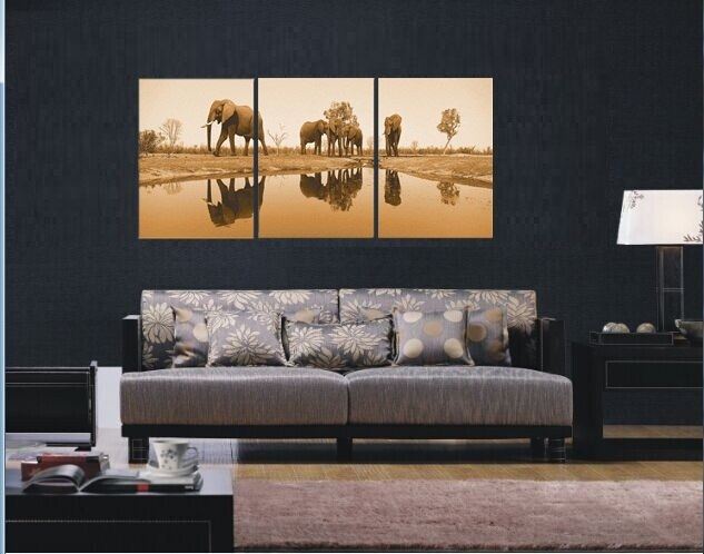 3 Piece Canvas Art Sets Elephant Painting Picture Tree Wall Painting