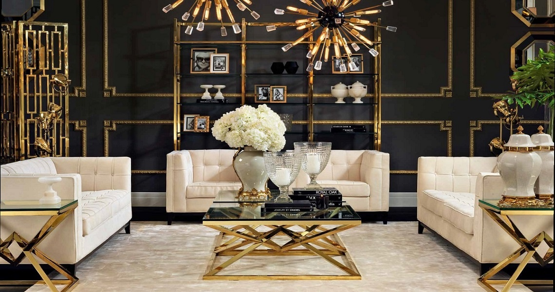 Coffee tables, sofas, armchairs, chairs, vase, lamps, all luxury furniture