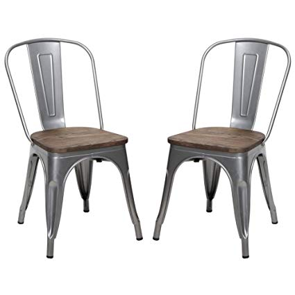 Amazon.com: Metal Stackable Dining Chair with Wood Seat, Indoor