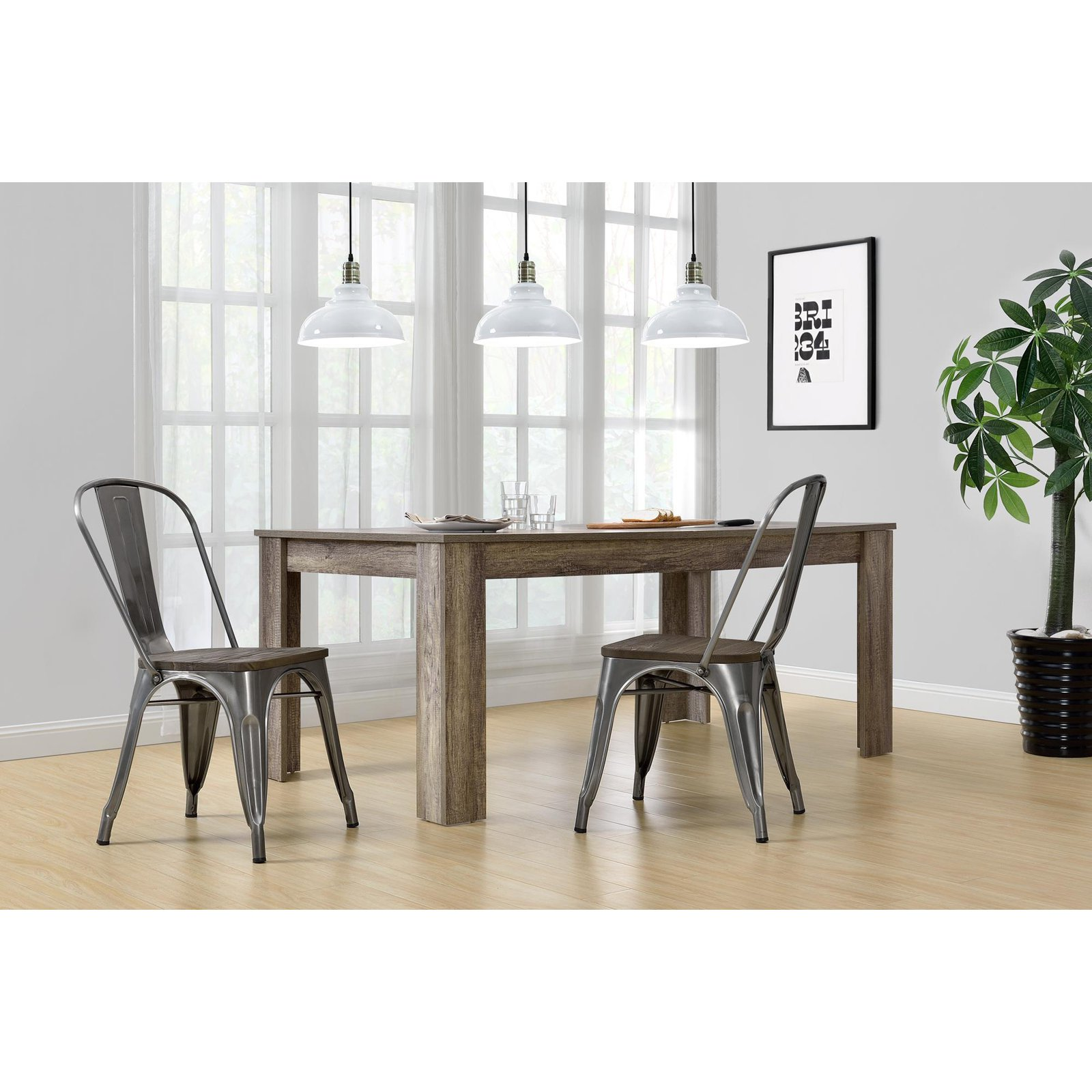 DHP Fusion Metal Dining Chair with Wood Seat, Set of 2, Various