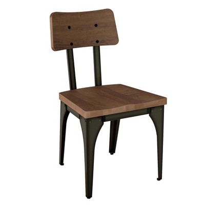 Woodland Metal Dining Chair With Distressed Wood Seat And Backrest