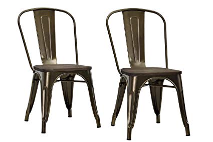Amazon.com: DHP Fusion Metal Dining Chair with Wood Seat, Distressed