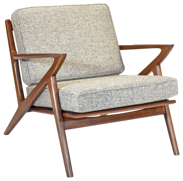 Zach Mid Century Modern Walnut Lounge Chair - Midcentury - Armchairs