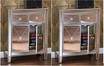 Amazon.com: home by hamilton Set of 2 Mirrored Hollywood Glam
