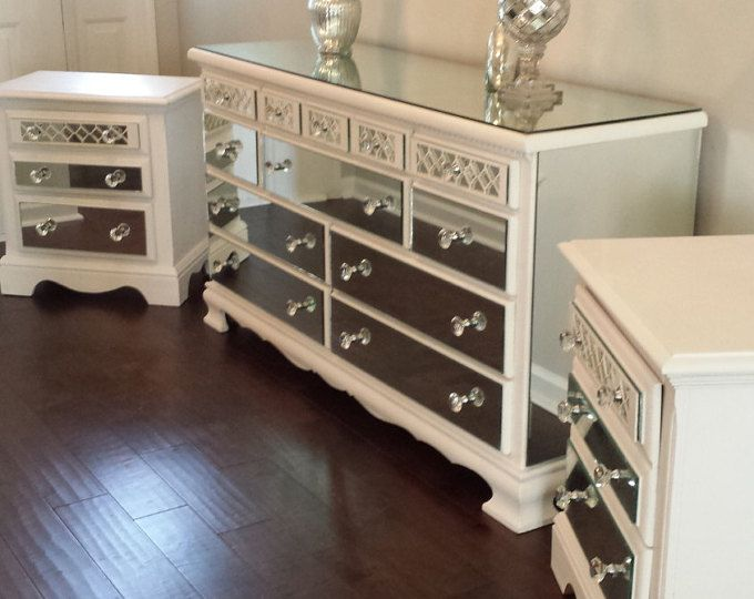 Mirrored Dresser and 2 Matching Nightstands Pure White with Diamond
