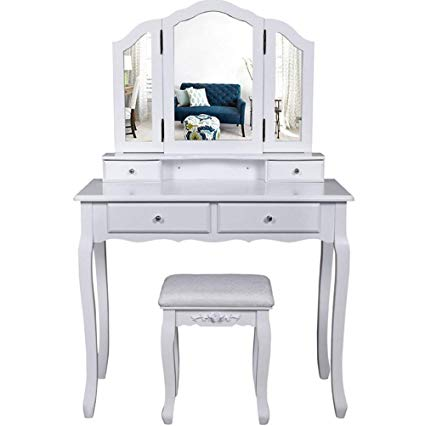 Amazon.com: DELOVE White Mirrored Dressing Table Console with
