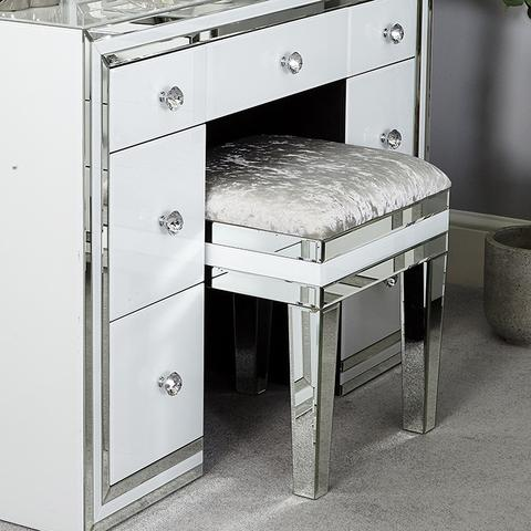 Manhattan White & Mirrored Dressing Table 7 drawer u2013 WOW Interiors