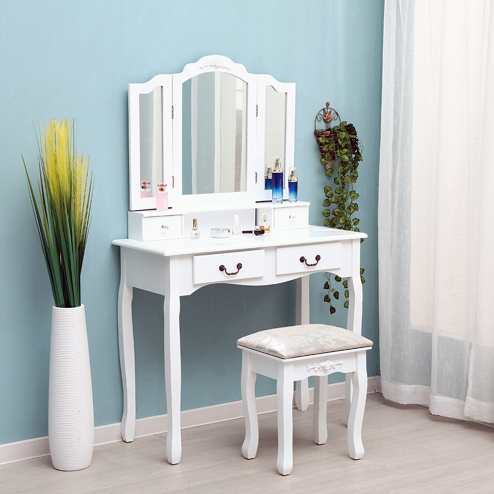 Tri-fold Mirror 4-Drawer Dresser Dressing Table with Dressing Stool