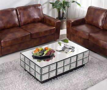 Mirrored Table Coffee Table,Mirrored Glass Living Room Furniture