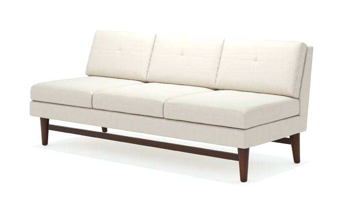 Armless Faux Leather Loveseat Sky Neutral Tufted Settee N