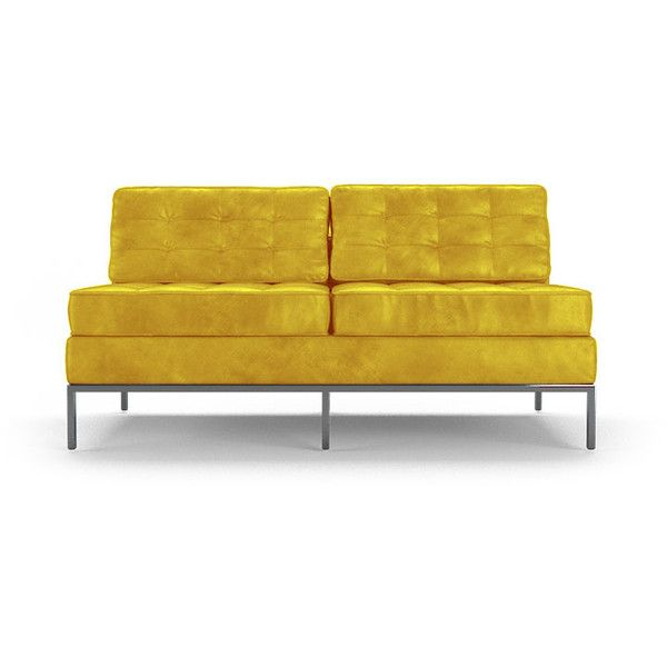 Joybird Franklin Mid Century Modern Yellow Leather Armless Loveseat