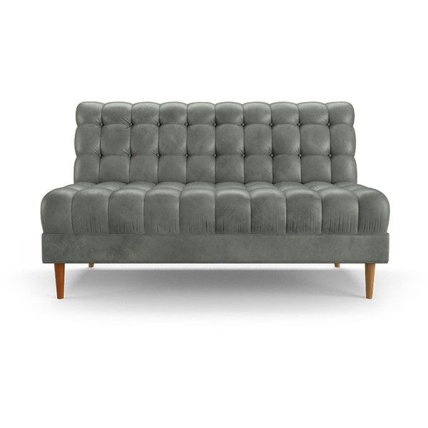 Modern Armless Leather Loveseat