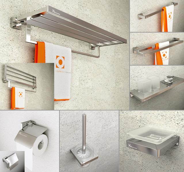 Sandblast Modern Bathroom Hardware Sets Spray Aluminum Solid